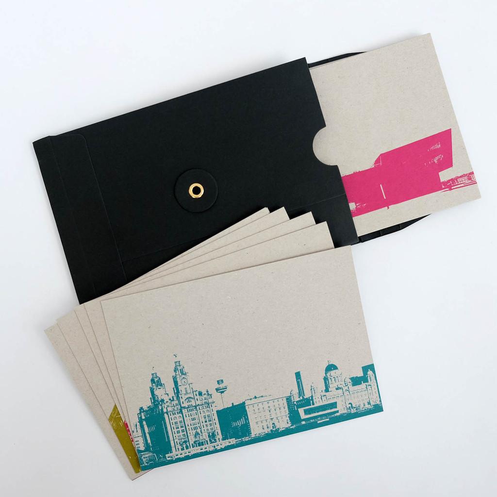 Jacky Al-Samarraie Set of 12 Liverpool Cityscape Postcards