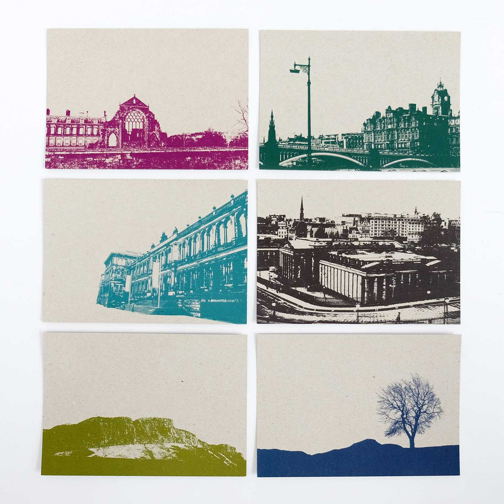 Jacky Al-Samarraie Set of 12 Recycled Edinburgh Postcards