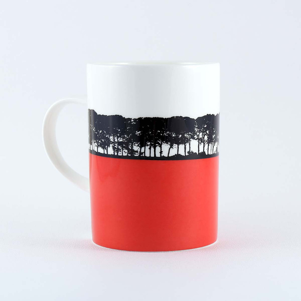 Coral colour landscape bone china mug, Bath in Somerset, The Art Rooms