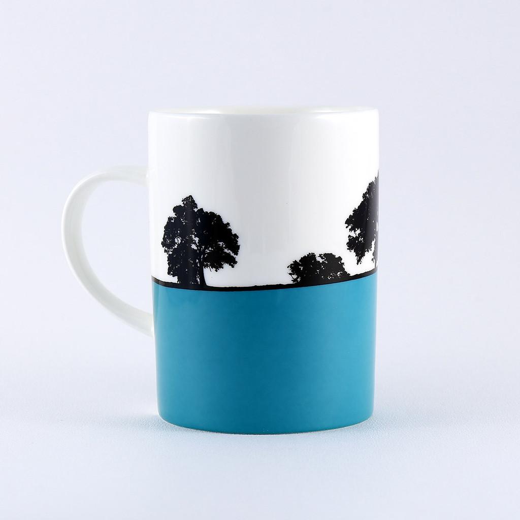 Teal landscape bone china mug, Cheltenham, The Art Rooms