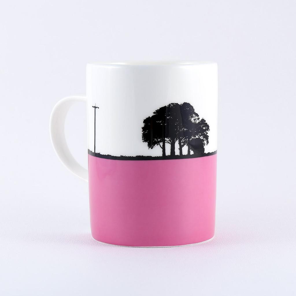 Chipping Sodbury landscape mug in pink, by Jacky Al-Samarraie