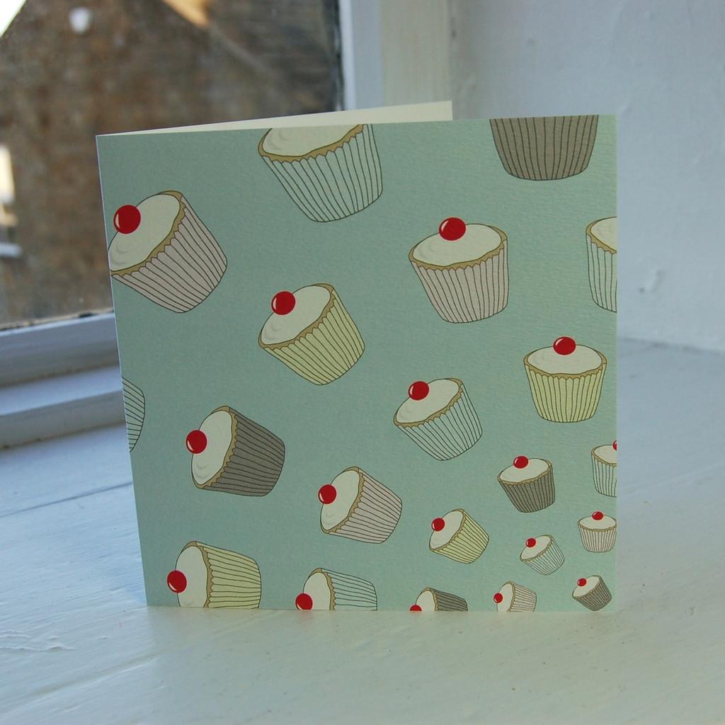 Jacky Al-Samarraie Blue Cupcakes Greeting Card