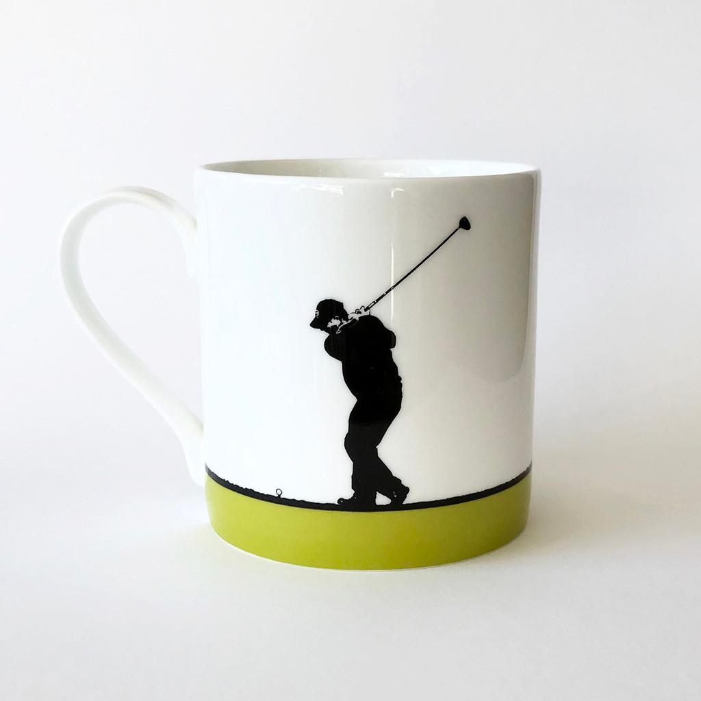 Golf sports bone china mug by Jacky Al-Samarraie