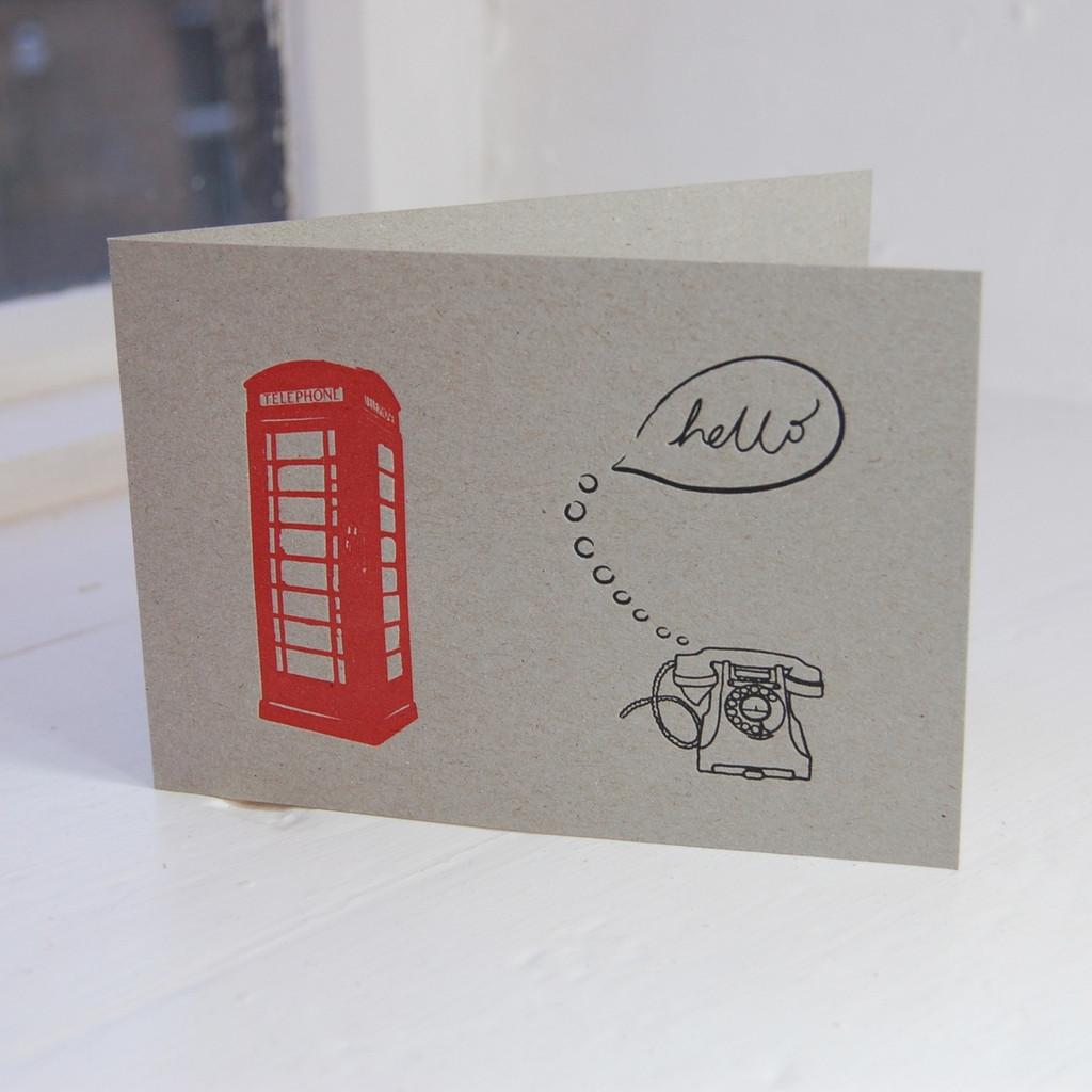 Jacky Al-Samarraie Red Telephone Box Letterpress Greeting Card