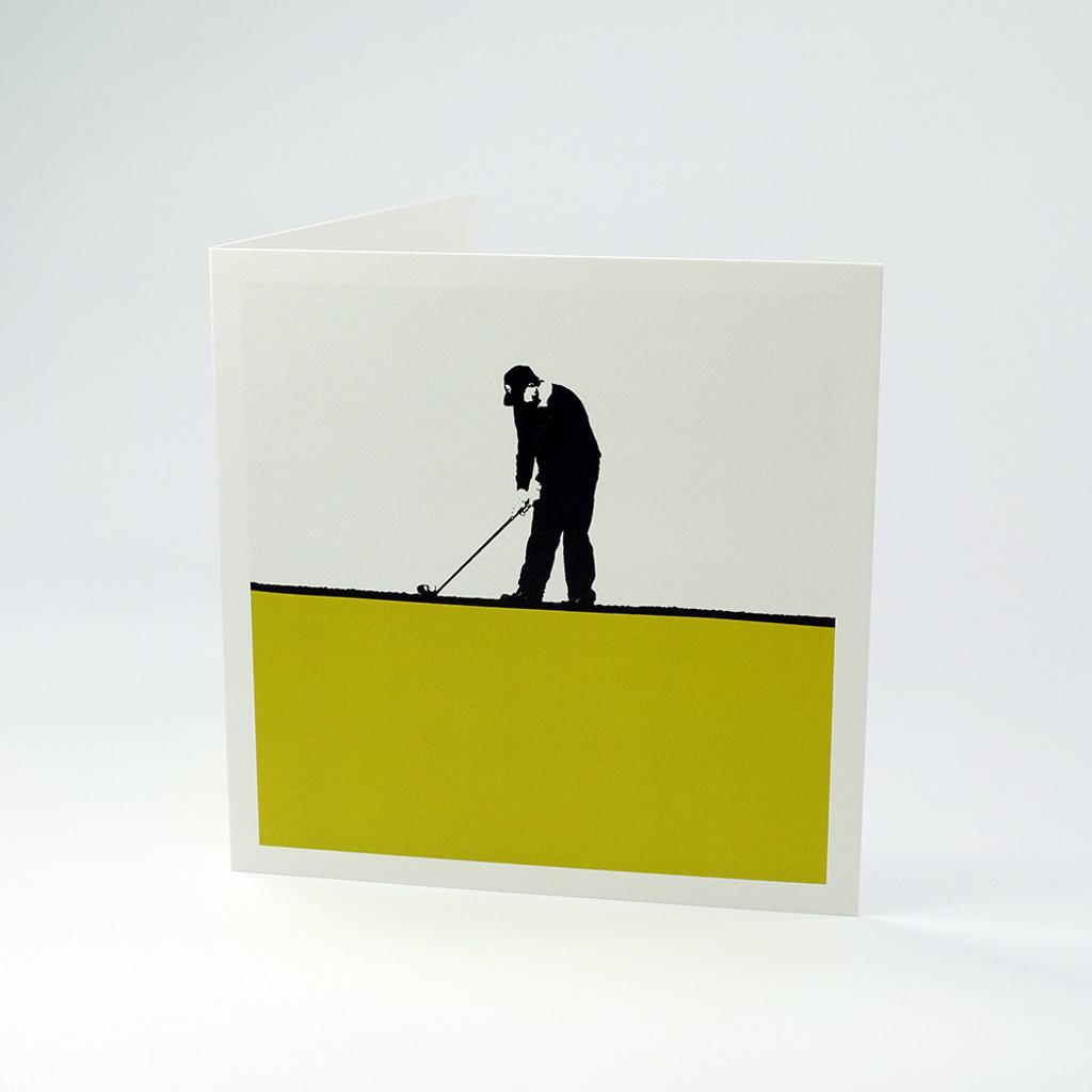 Golfer greeting card by Jacky Al-Samarraie