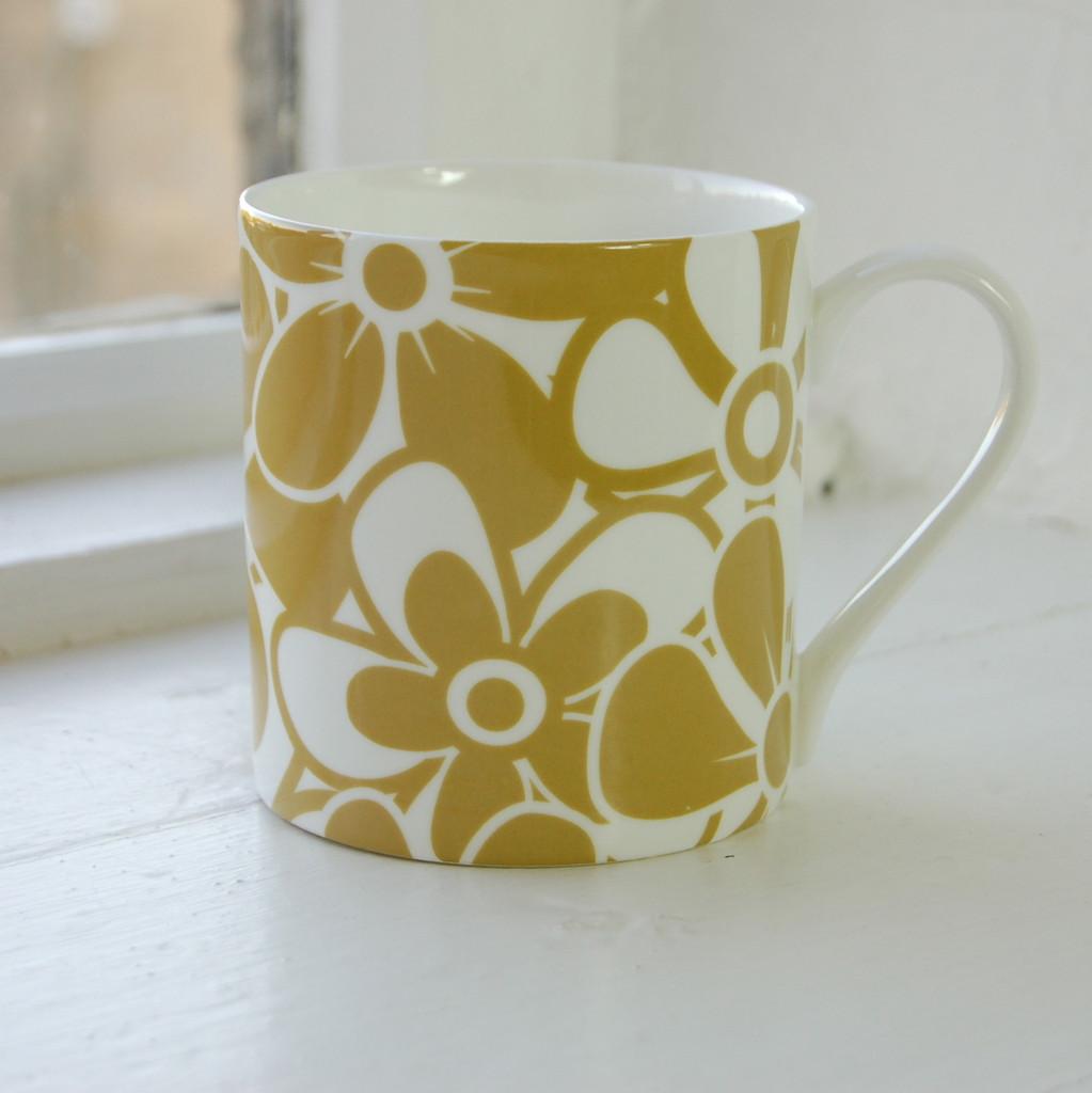 Jacky Al-Samarraie Floral Bone China Mug - Ochre - Discontinued