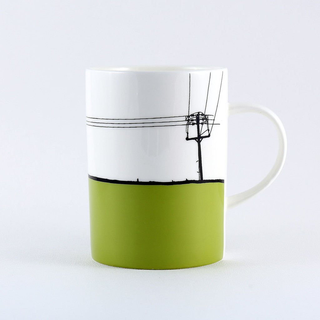 Green Yeadon Leeds bone china mug by Jacky Al-Samarraie