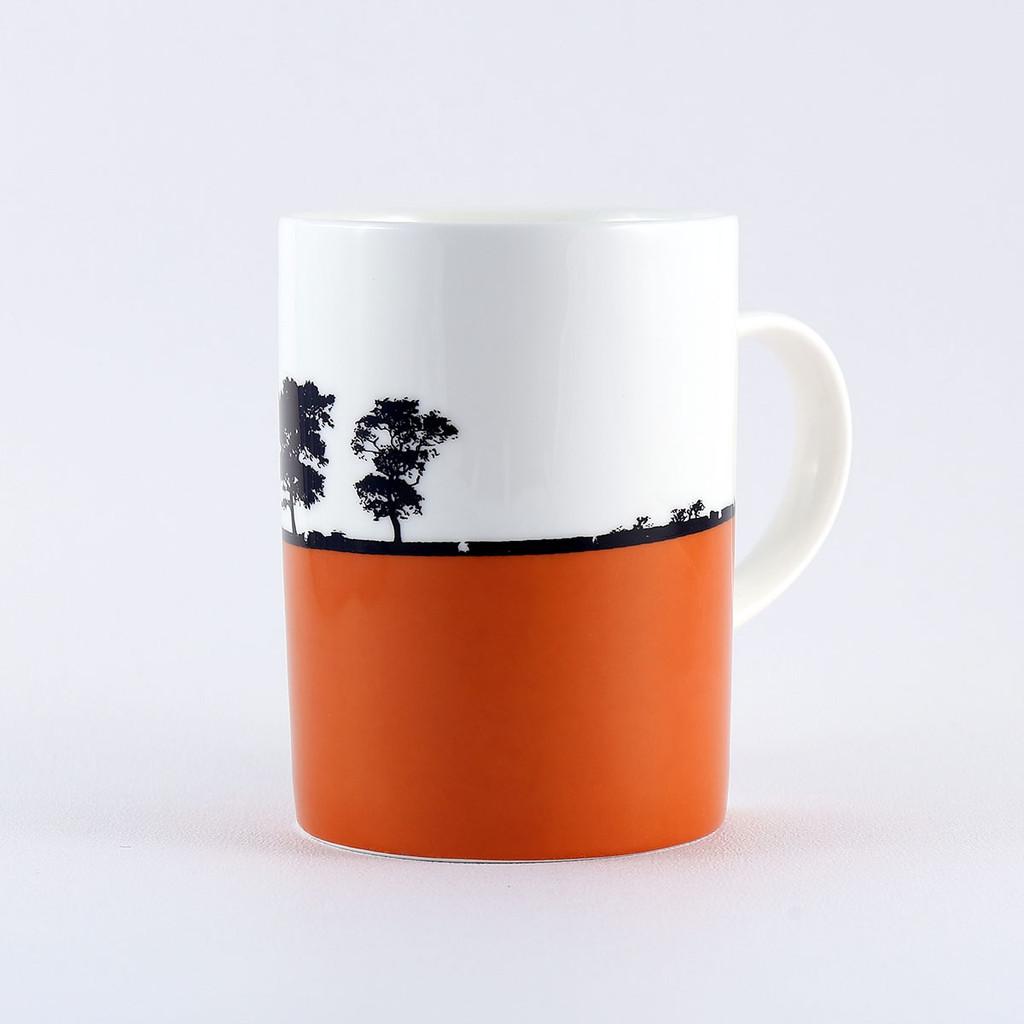 Orange Ilkley Landscape bone china mug, by Jacky Al-Samarraie