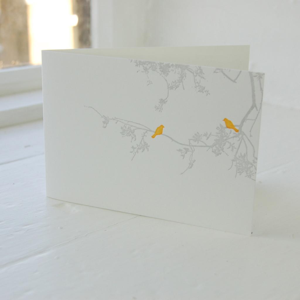 Jacky Al-Samarraie Birdsong Orange Letterpress Greeting Card