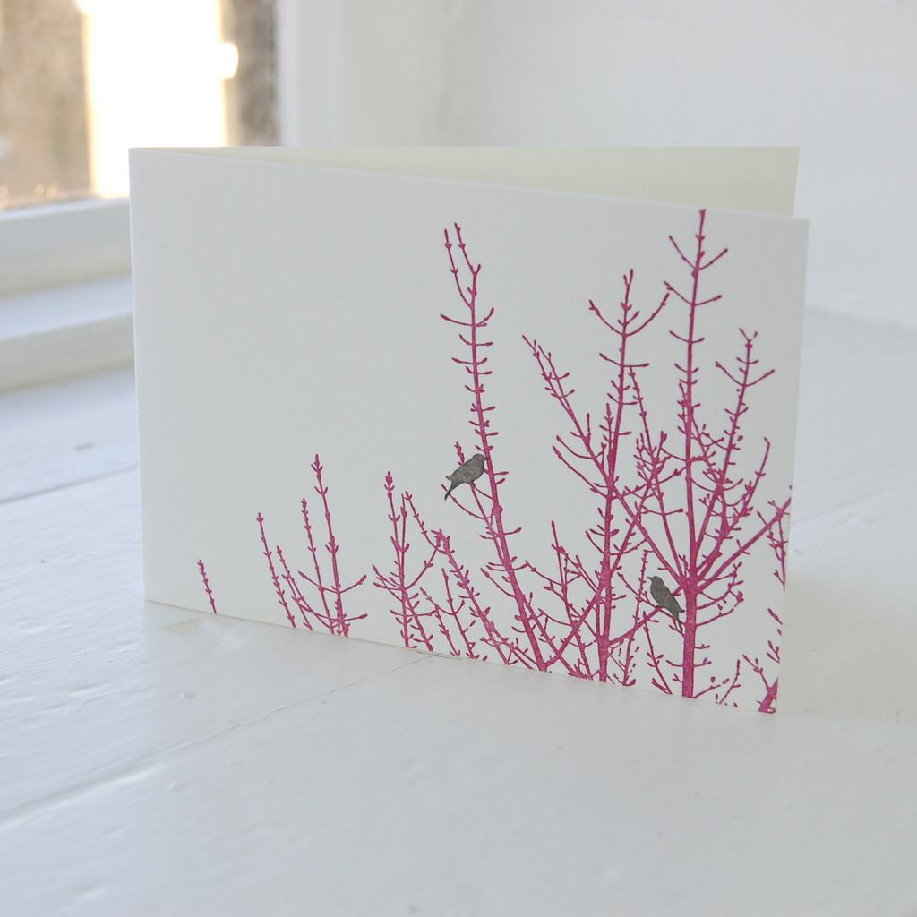 Jacky Al-Samarraie Birdsong Burgandy Letterpress Greeting Card