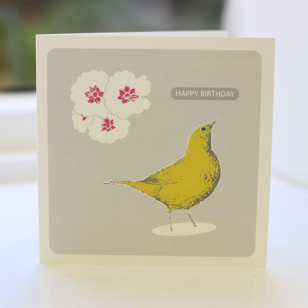 Jacky Al-Samarraie Song Thrush Mustard Greeting Card