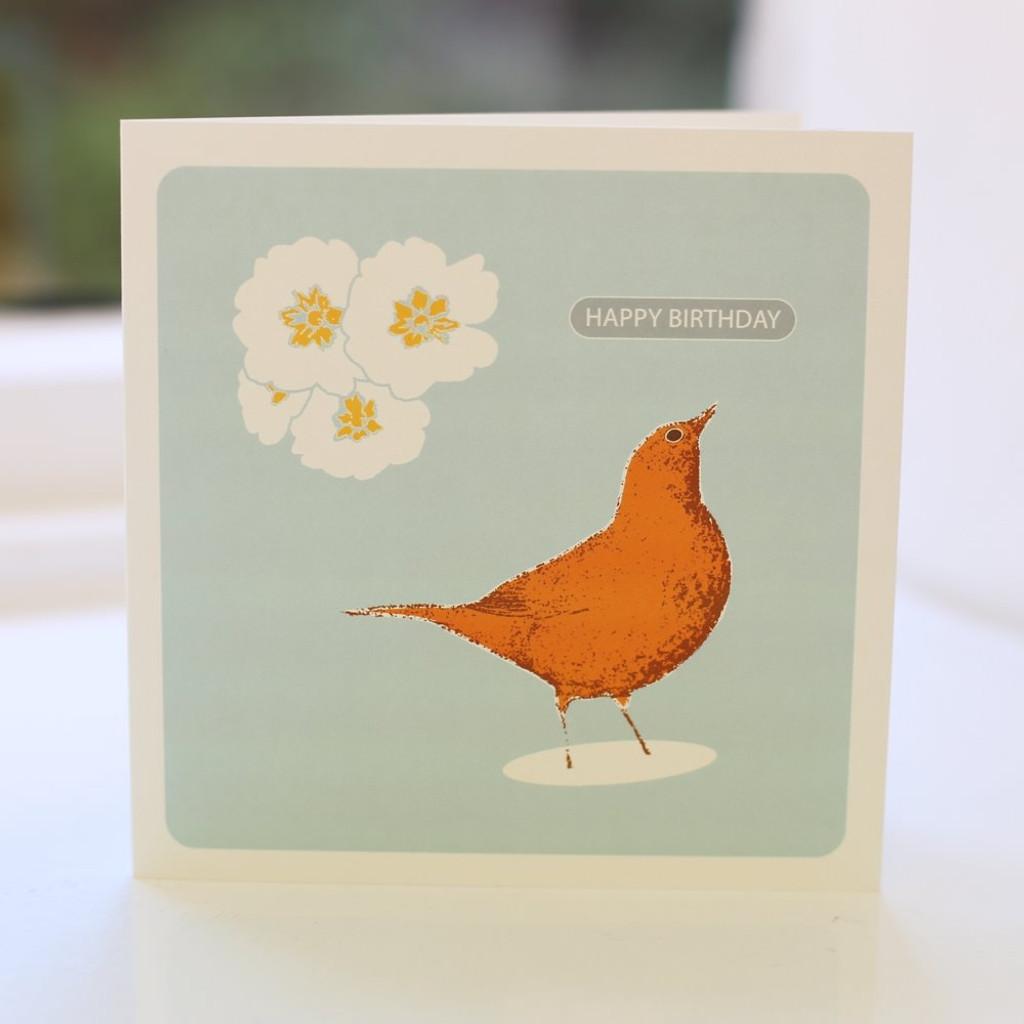 Jacky Al-Samarraie Song Thrush Orange Greeting Card