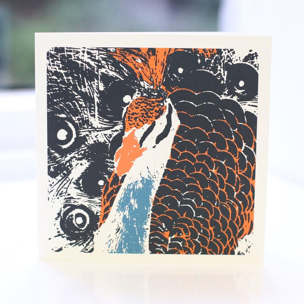 Jacky Al-Samarraie Peacock Charcoal Greeting Card