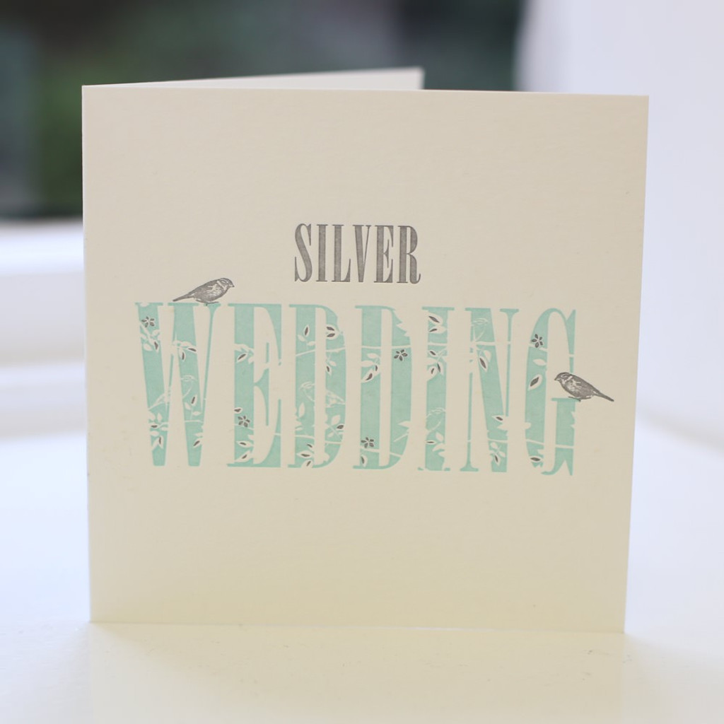 Jacky Al-Samarraie Silver Wedding Letterpress Greeting Card