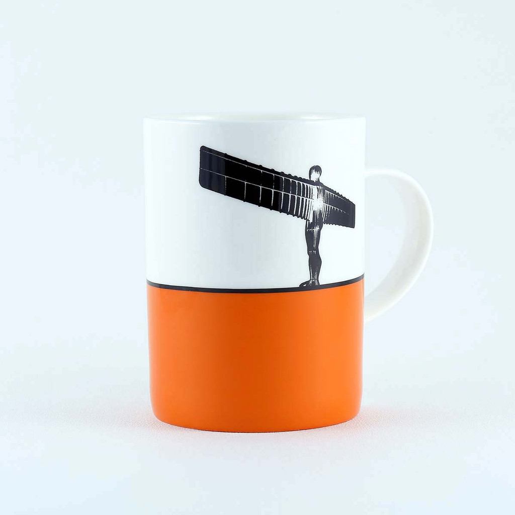 Orange Angel of the North silhouette bone china mug by The Art Rooms