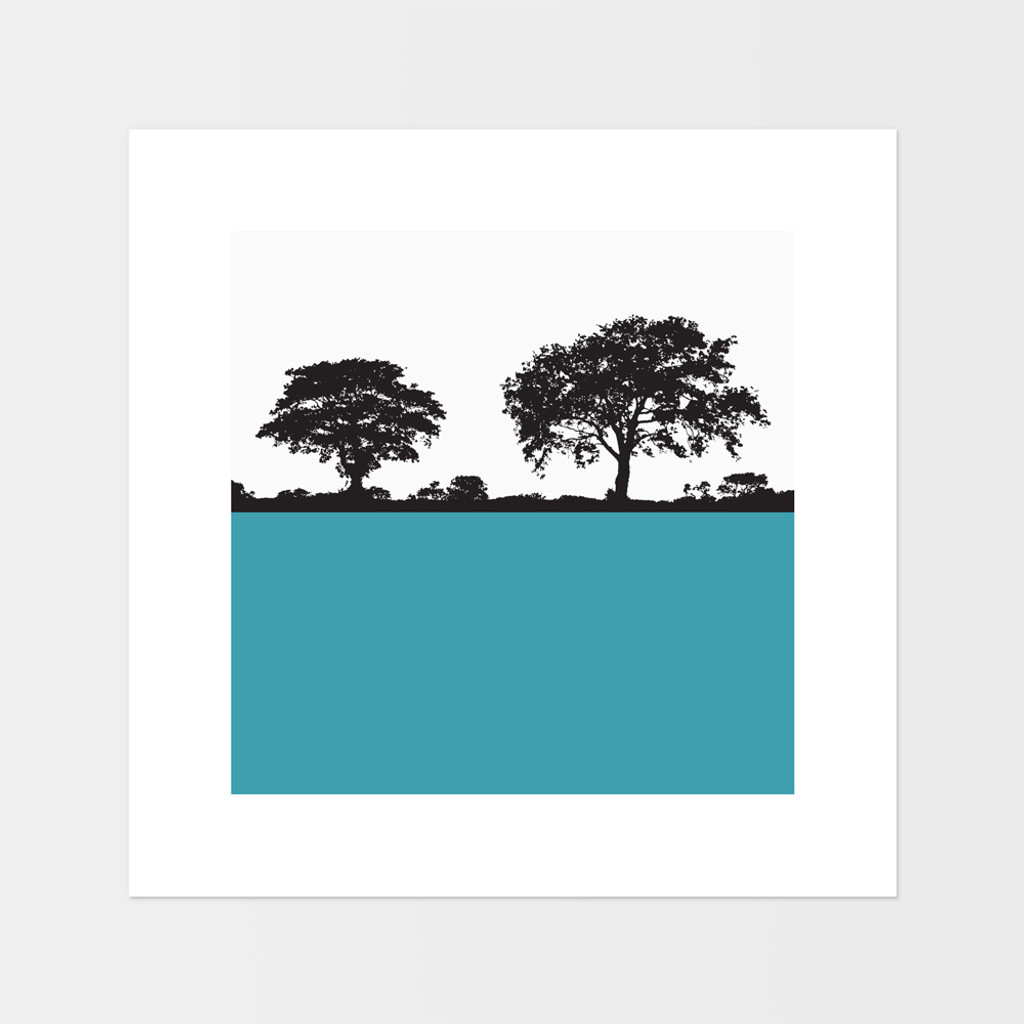 Landscape print of Anglesey, Wales by designer Jacky Al-Samarraie.  The print is mounted but unframed.  Print colour is teal blue.
