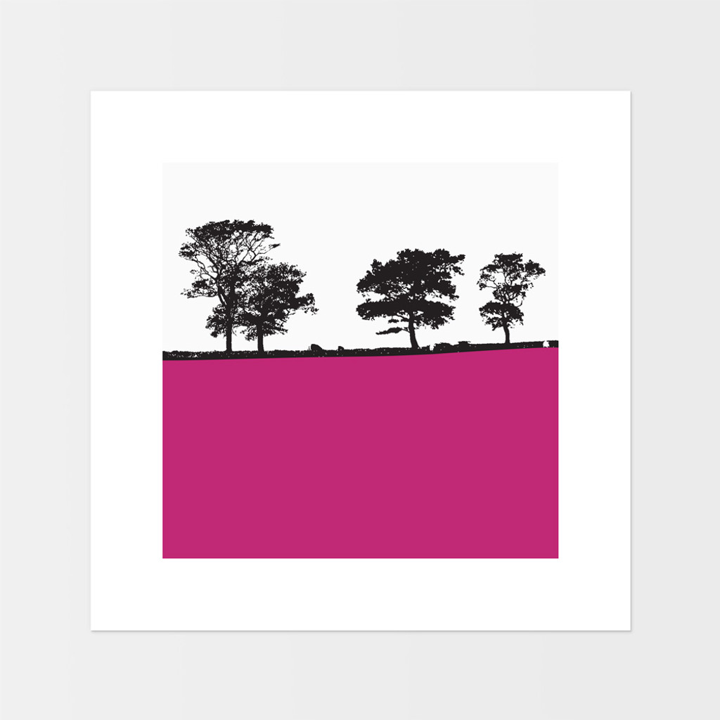 Landscape print of Ilkley, West Yorkshire by designer Jacky Al-Samarraie.  The square print is mounted but unframed.  Print colour is pink.