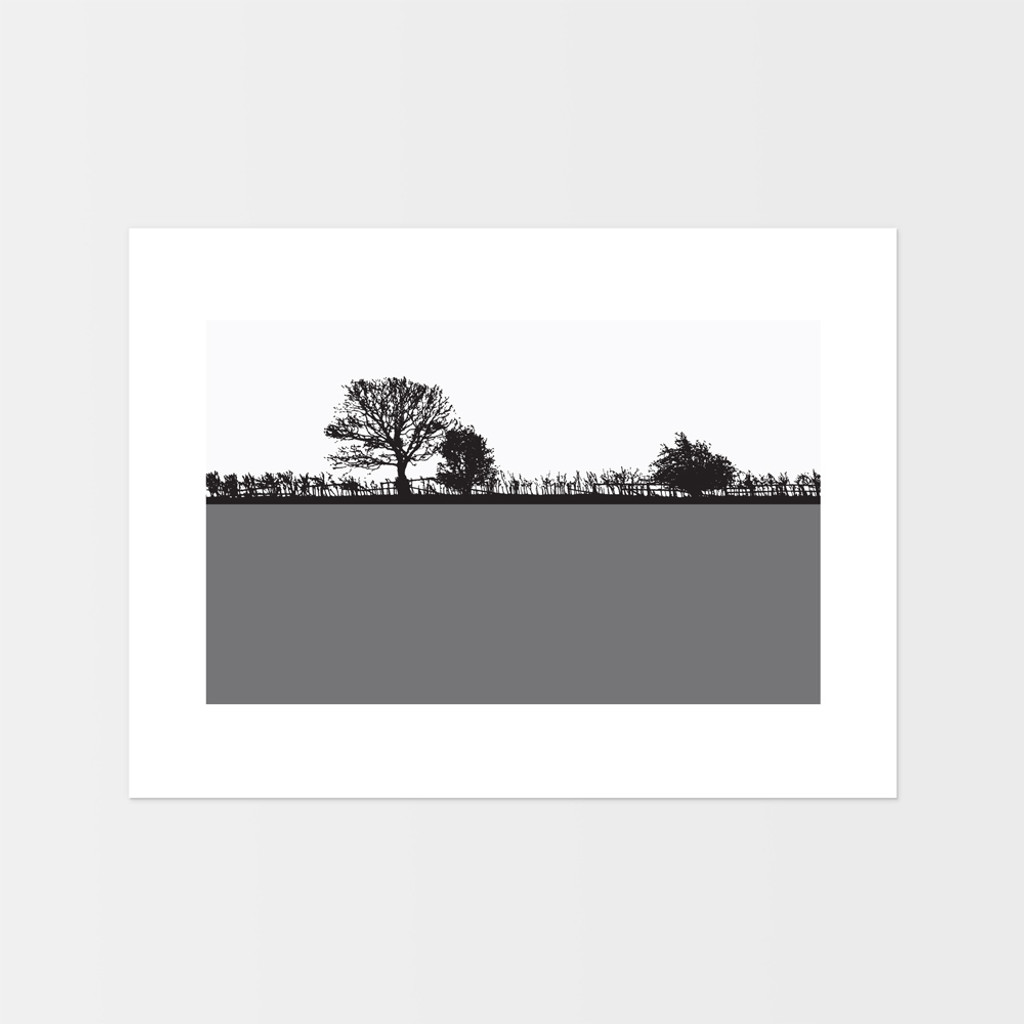 Landscape print of Pool in Wharfedale, West Yorkshire by designer Jacky Al-Samarraie.  The print is mounted but unframed.  Print colour is grey.