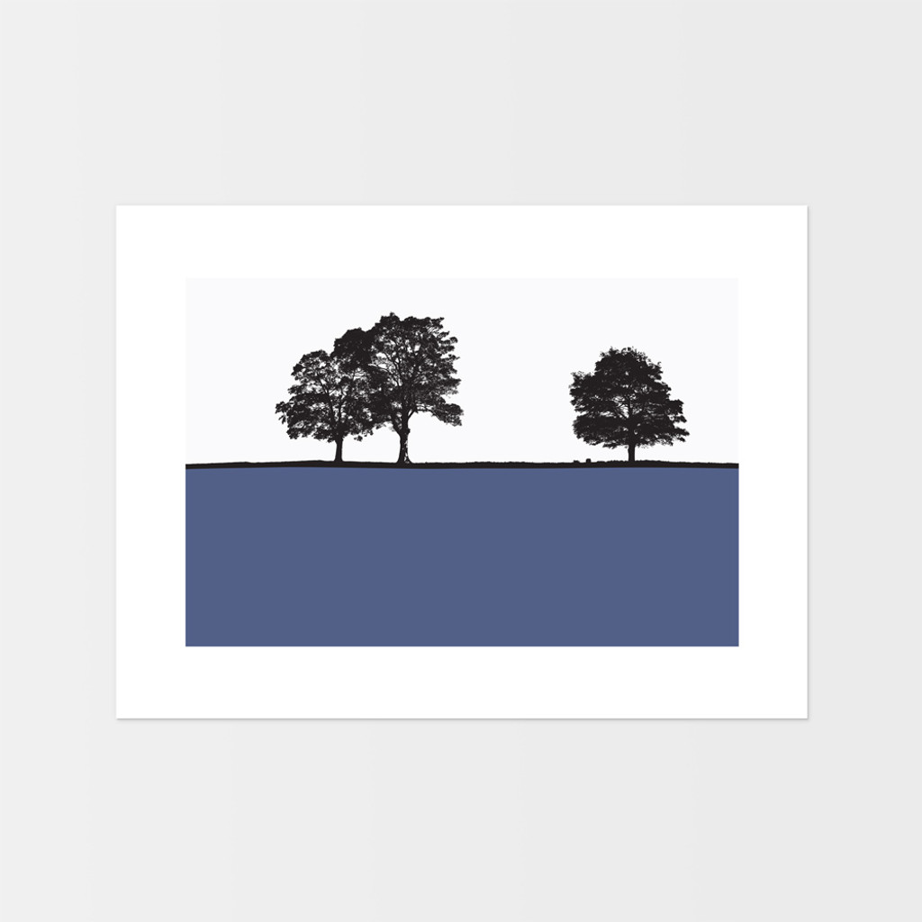 Landscape print of Ringinglow, Sheffield, Yorkshire by designer Jacky Al-Samarraie.  The print is unframed.  Print colour is blue.