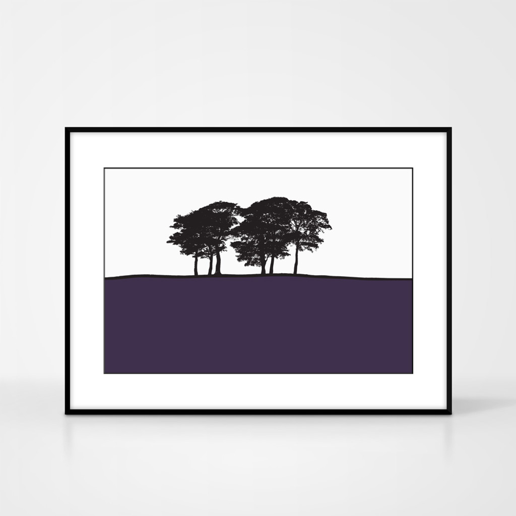 Landscape print of Skipton, Yorkshire by designer Jacky Al-Samarraie.  The print colour is purple.  The print comes mounted but is shown in a frame for reference.