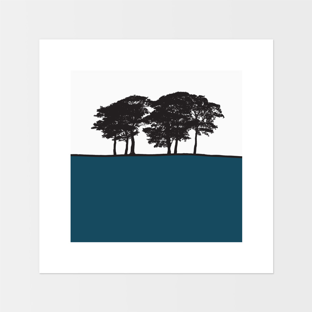 Landscape print of Skipton, Yorkshire by designer Jacky Al-Samarraie.  The square print is mounted but unframed.  Print colour is teal.