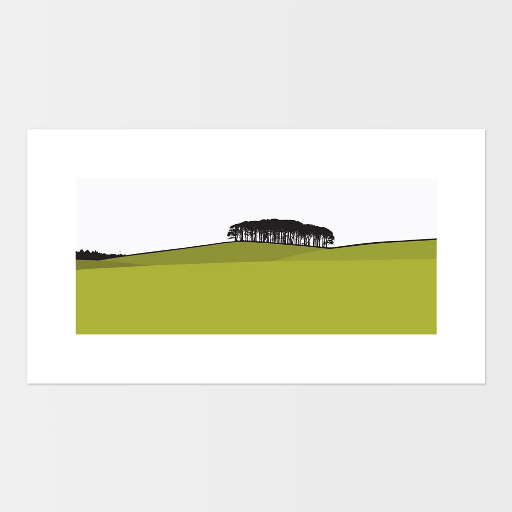 Landscape print of Laurieston in Dumfries and Galloway, Scotland by designer Jacky Al-Samarraie.  The print is mounted but unframed.  Print colour is green.
