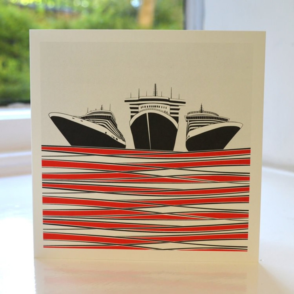 Jacky Al-Samarraie Ships Greeting Card - Red