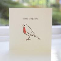 Jacky Al-Samarraie Robin Letterpress Christmas Card