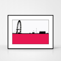 Print of the London Eye in the UK by designer Jacky Al-Samarraie.  Print colour is pink and the print shape is landscape.  Shown in frame for reference.