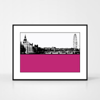 Print of the London Eye and Westminster by designer Jacky Al-Samarraie.  Print colour is pink and the print shape is landscape.  Shown in frame for reference.