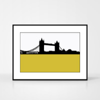 Print of Tower Bridge in London by designer Jacky Al-Samarraie.  Print colour is green and the print shape is landscape.  Shown in frame for reference.