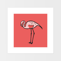Graphic animal art print of a flamingo by designer Jacky Al-Samarraie.  The print is mounted but unframed.