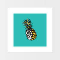 Graphic art print of pineapple fruit by designer Jacky Al-Samarraie.  The print is mounted but unframed, with a turquoise background colour.