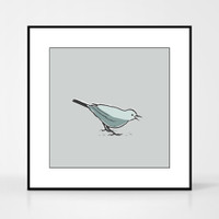 Graphic art print of a song thrush bird by designer Jacky Al-Samarraie.  The print comes mounted but is shown in a frame for reference.