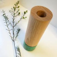 Turquoise Wood Stem Vase with Glass Tube