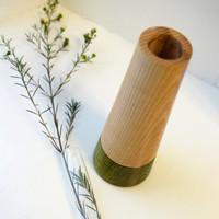 Green Wood Stem Vase with Glass Tube