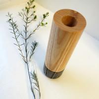 Grey Wood Stem Vase with Glass Tube