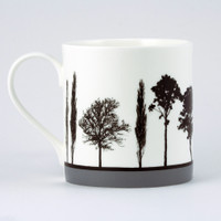 Jacky Al-Samarraie Grey Landscape Tree Bone China Mug