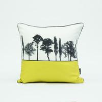 British landscape cushion in mustard by designer Jacky Al-Samarraie