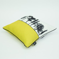 Side view of mustard Engligh countryside cushion by designer Jacky Al-Samarraie