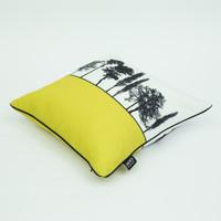 Side view of mustard English countryside cushion by designer Jacky Al-Samarraie
