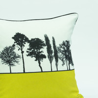 Mustard landscape silhouette cushion by designer Jacky Al-Samarraie