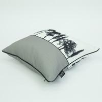 Side view of grey Engligh countryside cushion by designer Jacky Al-Samarraie