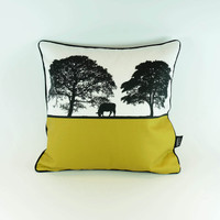Feather Filled Cotton Cushion with tree design in Mustard by Jacky Al-Samarraie
