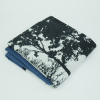 Blue woven cotton throw silhouette detail by designer Jacky Al-Samarraie
