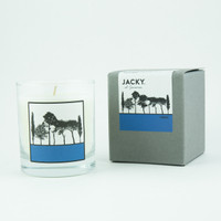 Pomegranate and black pepper fragranced candle in box by designer Jacky Al-Samarraie