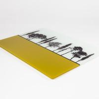 Design detail of British landscape mustard glass worktop saver by Jacky Al-Samarraie