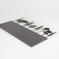 Design detail of British landscape grey glass worktop saver by Jacky Al-Samarraie