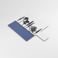 Detail of blue British landscape melamine chopping block by designer Jacky Al-Samarraie