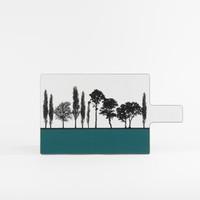 Teal British landscape melamine chopping board by designer Jacky Al-Samarraie